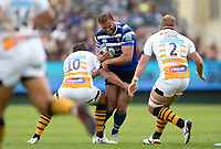 Jamie Roberts of Bath Rugby takes on the Wasps defence. Gallagher Premiership match, between Bath Rugby and Wasps on May 5, 2019 at the Recreation Ground in Bath, England. Photo by: Patrick Khachfe / Onside Images