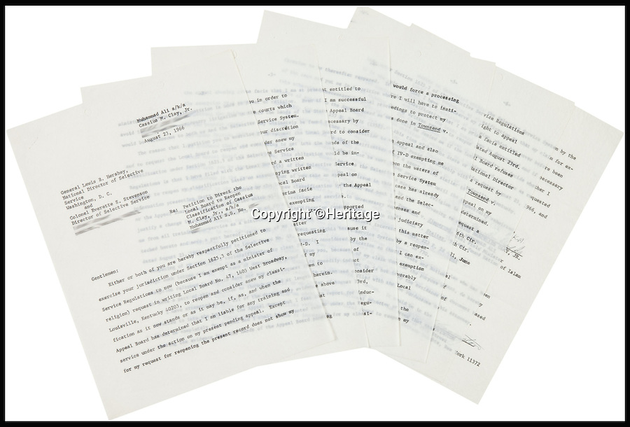 BNPS.co.uk (01202 558833)<br /> Pic: Heritage/BNPS<br /> <br /> ***Please Use Full Byline***<br /> <br /> The pages of the letter.<br /> <br /> An incredibly rare letter written by boxing great Muhammad Ali demanding exemption from the Vietnam War draft has emerged for sale for £35,000.<br /> <br /> Ali was the reigning heavyweight champion of the world when in 1966 was called up to serve in the US army as they waged war against Vietnam.<br /> <br /> But the 24-year-old prize fighter, who had converted to Islam two years previously, repeatedly refused to enlist on the grounds that his religious beliefs forbade any killing.<br /> <br /> The signed six-page letter has been described as the most significant document relating to Ali in existence by experts.