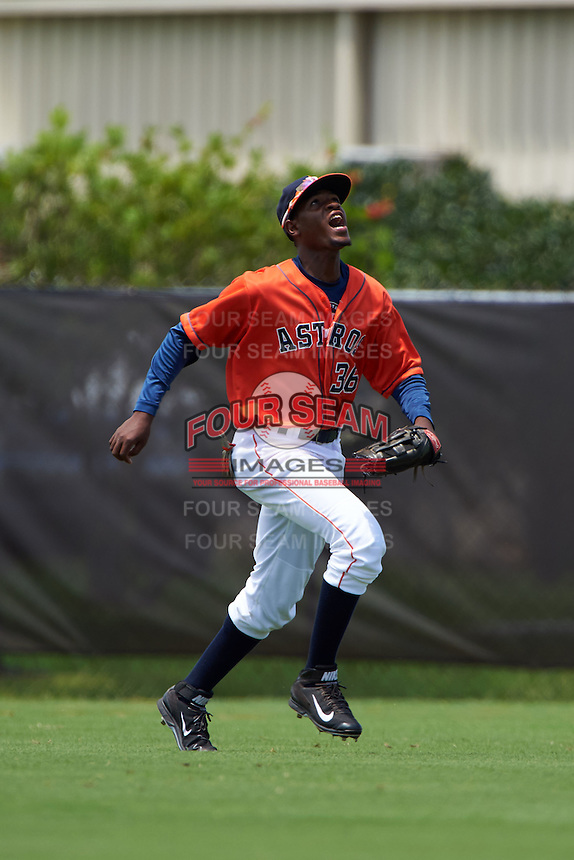 GCL Astros outfielder Bryan De La Cruz (36) calls for a fly ball during a game against the GCL Braves on July 23, 2015 at the Osceola County Stadium Complex in Kissimmee, Florida.  GCL Braves defeated GCL Astros 4-2.  (Mike Janes/Four Seam Images)