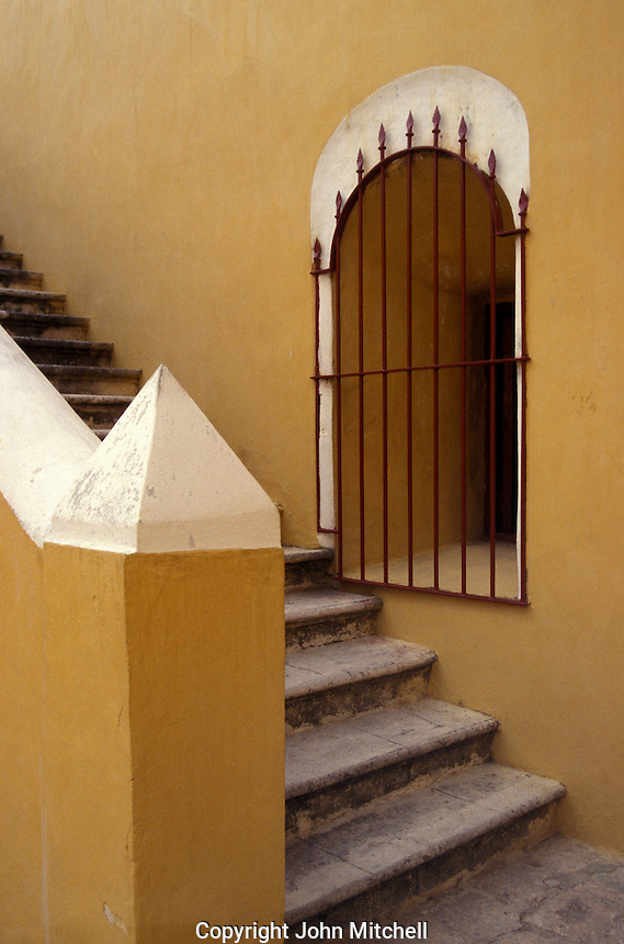 Staircase inside Fuerte San Jose el Alto, a restored Spanish Colonial fort near the city of Campeche, Mexico