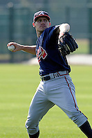 Infielder Corban Joseph (49) of the Atlanta Braves farm system in a Minor League Spring Training intrasquad game on Wednesday, March 18, 2015, at the ESPN Wide World of Sports Complex in Lake Buena Vista, Florida. (Tom Priddy/Four Seam Images)