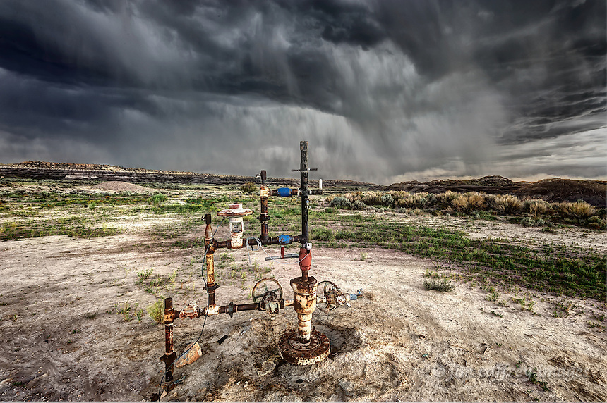 The wellhead at a gas well in the Lybrook Badlands in the San Juan Basin of northwest New Mexico.