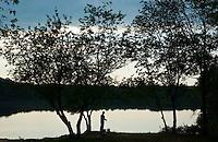 man fishes  at Lake Lunka at Quantico Marine Base in Virginia