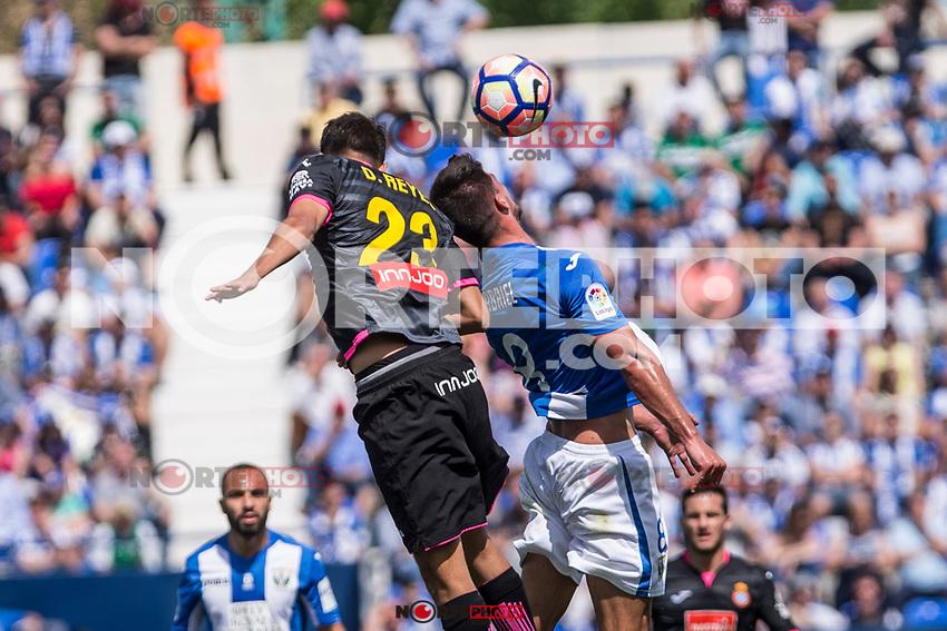 Diego Reyes of RCD Espanyol and Gabriel Appelt Pires of Club Deportivo Leganes during the match of La Liga between  Club Deportivo Leganes and RCD Espanyol at Butarque  Stadium  in Leganes, Spain. April 16, 2017. (ALTERPHOTOS / Rodrigo Jimenez)