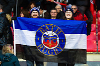 Bath Rugby supporters in the crowd pose for a photo. Heineken Champions Cup match, between Stade Toulousain and Bath Rugby on January 20, 2019 at the Stade Ernest Wallon in Toulouse, France. Photo by: Patrick Khachfe / Onside Images