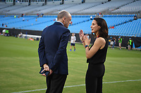 CHARLOTTE, NC - OCTOBER 03: Tom King and Kate Markgraf of the United States chat prior to their game versus Korea Republic at Bank of American Stadium, on October 03, 2019 in Charlotte, NC.