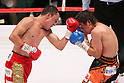 (L to R)  Hugo Cazares (Mex), Tomonobu Shimizu (JPN), AUGUST 31, 2011 - Boxing : Hugo Cazares of Mexico in action against Tomonobu Shimizu of japan during the WBA Super fly weight title bout at Nippon Budokan, Tokyo, Japan. Tomonobu Shimizu of Japan won the fight on points after twelve rounds. (Photo by Yusuke Nakanishi/AFLO SPORT) [1090]