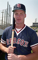 Boston Red Sox Colin Dixon wearing a New Britain hat during Spring Training circa 1992.  (MJA/Four Seam Images)