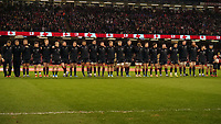 Wales line up for the anthems <br /> <br /> Photographer Ian Cook/CameraSport<br /> <br /> Under Armour Series Autumn Internationals - Wales v Tonga - Saturday 17th November 2018 - Principality Stadium - Cardiff<br /> <br /> World Copyright © 2018 CameraSport. All rights reserved. 43 Linden Ave. Countesthorpe. Leicester. England. LE8 5PG - Tel: +44 (0) 116 277 4147 - admin@camerasport.com - www.camerasport.com