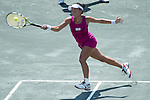 Vania King (USA) loses to Sabine Lisicki (GER) 7-5, 4-6, 6-3 at the Family Circle Cup in Charleston, South Carolina on April 2, 2014.