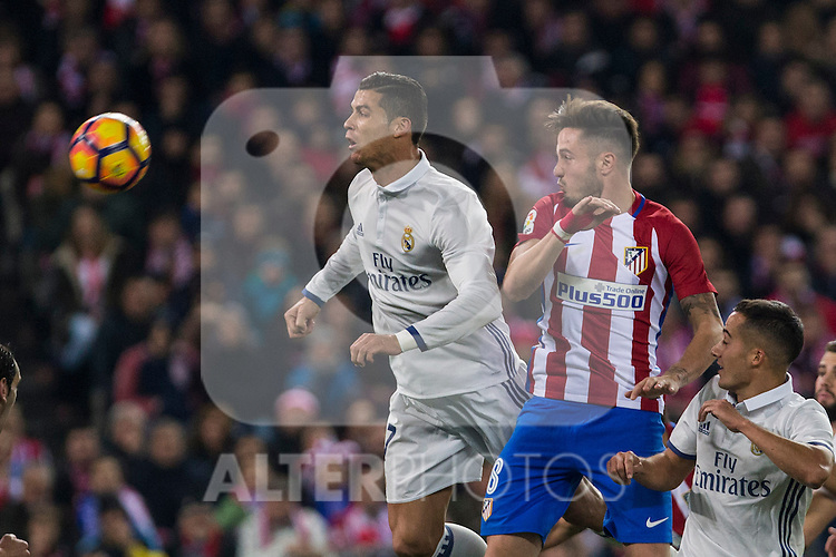 Real Madrid's Cristiano Ronaldo Atletico de Madrid's Saul Iniguez during the match of La Liga between Atletico de Madrid and Real Madrid at Vicente Calderon Stadium  in Madrid , Spain. November 19, 2016. (ALTERPHOTOS/Rodrigo Jimenez)