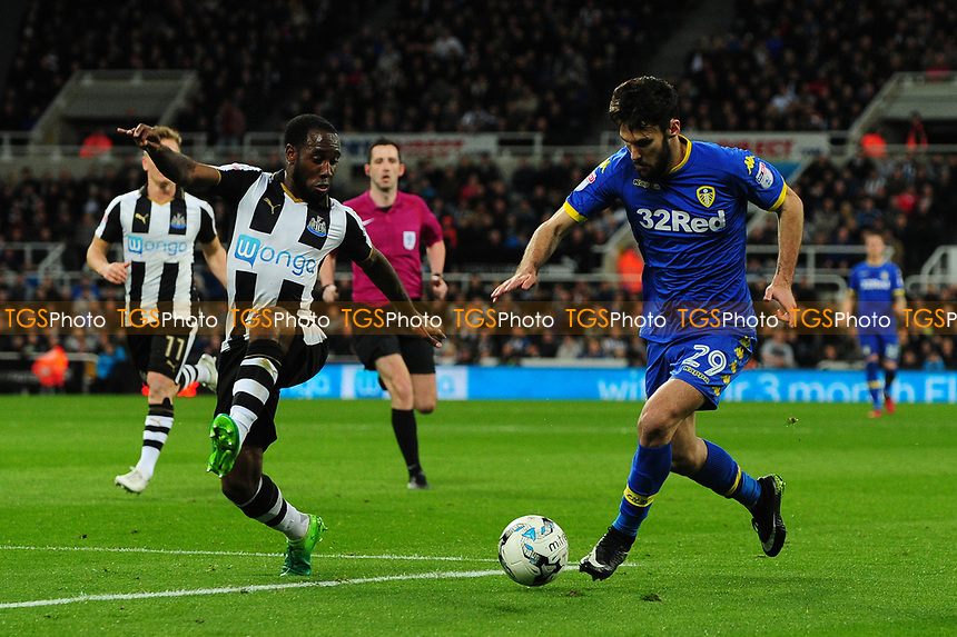 Alfonso Pedraza of Leeds United battles with Vurnon Anita of Newcastle United during Newcastle United vs Leeds United, Sky Bet EFL Championship Football at St. James' Park on 14th April 2017