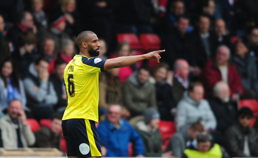 Fleetwood Town's Nathan Pond in action during todays match  <br /> <br /> Photographer Chris Vaughan/CameraSport<br /> <br /> Football - The Football League Sky Bet League One - Walsall v Fleetwood Town - Monday 2nd May 2016 - Banks's Stadium - Walsall   <br /> <br /> &copy; CameraSport - 43 Linden Ave. Countesthorpe. Leicester. England. LE8 5PG - Tel: +44 (0) 116 277 4147 - admin@camerasport.com - www.camerasport.com