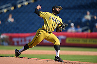 Alabama State Hornets pitcher Charles Taylor (30) delivers a pitch during a game against the USF Bulls on February 15, 2015 at Bright House Field in Clearwater, Florida.  USF defeated Alabama State 12-4.  (Mike Janes/Four Seam Images)