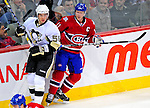 3 February 2009: Pittsburgh Penguins' defenseman Kris Letang bumps with Montreal Canadiens center Saku Koivu at the Bell Centre in Montreal, Quebec, Canada. The Canadiens defeated the Penguins 4-2. ***** Editorial Sales Only ***** Mandatory Photo Credit: Ed Wolfstein Photo