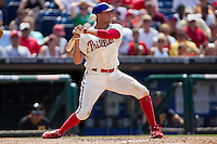 Philadelphia Phillies outfielder Hunter Pence #3 avoids an inside pitch during the Major League Baseball game against the Pittsburgh Pirates on June 28, 2012 at Citizens Bank Park in Philadelphia, Pennsylvania. The Pirates defeated the Phillies 5-4. (Andrew Woolley/Four Seam Images).