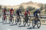 The breakaway group in the desert during Stage 1 The Nakheel Stage of the Dubai Tour 2018 the Dubai Tour&rsquo;s 5th edition, running 167km from Skydive Dubai to Palm Jumeirah, Dubai, United Arab Emirates. 6th February 2018.<br /> Picture: LaPresse/Fabio Ferrari | Cyclefile<br /> <br /> <br /> All photos usage must carry mandatory copyright credit (&copy; Cyclefile | LaPresse/Fabio Ferrari)