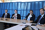 12 April 2012: From left: NASL Commissioner David Downs, MLS President Mark Abbott, Vice-President of Traffic Sports, the RailHawks owners, Aaron Davidson, and RailHawks President Curt Johnson. The Carolina RailHawks held a Media Roundtable at WakeMed Stadium in Cary, NC.