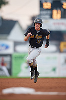 West Virginia Black Bears center fielder Chris Sharpe (16) runs the bases during a game against the Batavia Muckdogs on August 7, 2017 at Dwyer Stadium in Batavia, New York.  West Virginia defeated Batavia 6-3.  (Mike Janes/Four Seam Images)