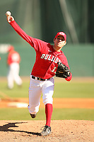 February 26, 2006:  Pitcher Trevor Holder (12) of the Georgia Bulldogs delivers a pitch during a game at Foley Field in Athens, GA.  Photo By David Stoner/Four Seam Images
