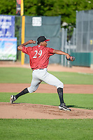 Idaho Falls Chukars starting pitcher Carlos Herrera (29) delivers a pitch to the plate against the Ogden Raptors in Pioneer League action at Lindquist Field on June 23, 2015 in Ogden, Utah. Idaho Falls beat the Raptors 9-6. (Stephen Smith/Four Seam Images)