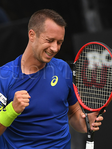 08.06.2016. Stuttgart, Germany.  Germany's Philipp Kohlschreiber reacts to winning a point during his second round match against Denis Kudla of the USA at the ATP tennis tournament in Stuttgart, Germany, 08 June 2016.