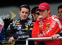 Feb 22, 2009; Fontana, CA, USA; NASCAR Sprint Cup Series driver Casey Mears (left) with Kasey Kahne prior to the Auto Club 500 at Auto Club Speedway. Mandatory Credit: Mark J. Rebilas-