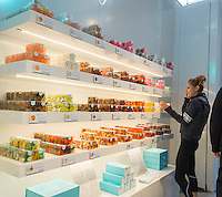 The Sugarfina candymaker store is seen in the Time Warner Center in New York on Saturday, October 24, 2015.  The 220 square foot mini-store is the first East Coast shop for the Beverly Hills based Sugarfina. The adult store features upscale candies including fondants from Italy and $100 gold flaked gummy bears. (© Richard B. Levine)