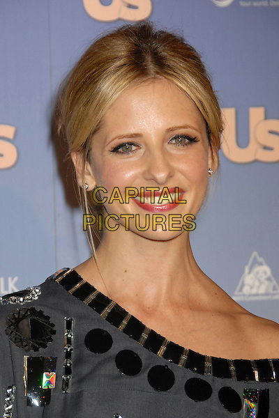 SARAH MICHELLE GELLAR.US Weekly's Hot Hollywood 2007 at Opera, Hollywood, California, USA..September 26th, 2007.headshot portrait grey gray silver metallic jewel encrusted off the shoulder .CAP/ADM/BP.©Byron Purvis/AdMedia/Capital Pictures.