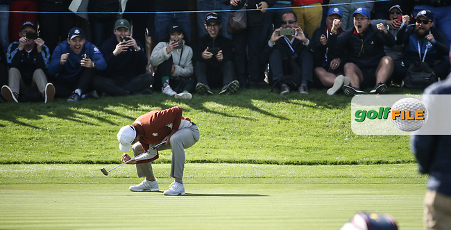 Sergio Garcia (Team Europe) sinks winning putt on the 17th during Saturday's Fourballs, at the Ryder Cup, Le Golf National, Île-de-France, France. 29/09/2018.<br /> Picture David Lloyd / Golffile.ie<br /> <br /> All photo usage must carry mandatory copyright credit (© Golffile | David Lloyd)
