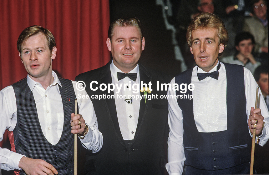 Alex Higgins, Belfast, N Ireland, professional snooker player, left, Len Ganley, referee, and Terry Griffiths, Wales, at the Irish Masters Snooker, Goffs, Rep of Ireland, 198503000034f..Copyright Image from Victor Patterson, 54 Dorchester Park, Belfast, UK, BT9 6RJ..Tel: +44 28 9066 1296.Mob: +44 7802 353836.Voicemail +44 20 8816 7153.Skype: victorpattersonbelfast.Email: victorpatterson@mac.com.Email: victorpatterson@ireland.com (back-up)..IMPORTANT: If you wish to use this image or any other of my images please go to www.victorpatterson.com and click on the Terms & Conditions. Then contact me by email or phone with the reference number(s) of the image(s) concerned.