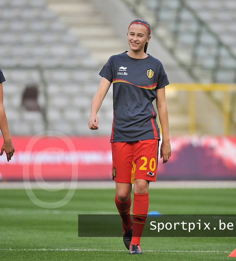 20130921 - BRUSSELS , BELGIUM : Belgian Julie Biesmans pictured during the female soccer match between Belgium and Albania , on the first matchday in group 5 of the UEFA qualifying round to the FIFA Women World Cup in Canada 2015 at the Koning Boudewijn Stadion , Brussels . Saturday 21th September 2013. PHOTO DAVID CATRY