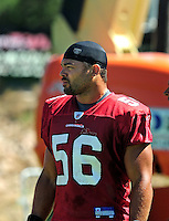 Jul 30, 2008; Flagstaff, AZ, USA; Arizona Cardinals linebacker Chike Okeafor during training camp on the campus of Northern Arizona University. Mandatory Credit: Mark J. Rebilas-
