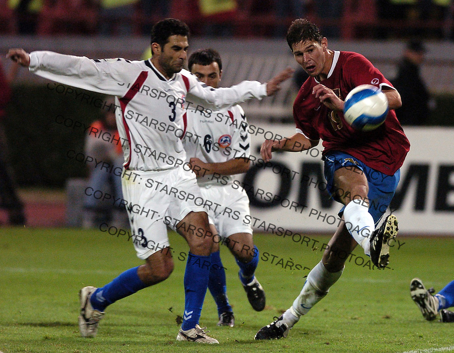 SPORT FUDBAL SRBIJA JERMENIJA REPREZENTACIJA EURO 2008 KVALIFIKACIJE SOCCER NATIONAL TEAM SERBIA JERMENIA Nikola Zigic 11.10.2006. photo: Pedja Milosavljevic<br />