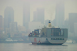 Seattle, Port of Seattle, container ship, Elliott Bay, Puget Sound, Washington State, Pacific Northwest,