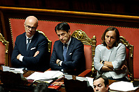 Federico D'Inca' , Giuseppe Conte and Luciana Lamorgese<br /> Rome September 10th 2019. Senate. Discussion and Trust vote at the new Government. <br /> Foto  Samantha Zucchi Insidefoto