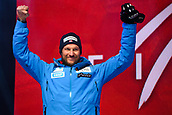 9th February 2019, ARE, Sweden; Aksel Lund Svindal of Norway celebrates at the medal ceremony for mens downhilll during the FIS Alpine World Ski Championships on February 9, 2019 in Are.
