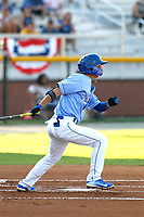 Burlington Royals infielder Matt Morales (21) at bat during a game against the Kingsport Mets at Burlington Athletic Complex on July 28, 2018 in Burlington, North Carolina. Burlington defeated Kingsport 4-3. (Robert Gurganus/Four Seam Images)