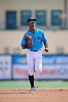 Miami Marlins Yoelvis Sanchez (87) jogs to the dugout during an Instructional League game against the Washington Nationals on September 25, 2019 at Roger Dean Chevrolet Stadium in Jupiter, Florida.  (Mike Janes/Four Seam Images)