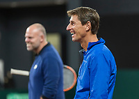 The Hague, The Netherlands, September 11, 2017,  Sportcampus , Davis Cup Netherlands - Chech Republic, training, Captain Paul Haarhuis (NED) in the back coach Raymond Knaap (NED)<br /> Photo: Tennisimages/Henk Koster