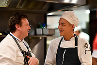 MELBOURNE, 30 June 2017 – Barry Davis and Junpei Yamakoshi at a dinner celebrating Philippe Mouchel's 25 years in Australia with six chefs who worked with him in the past at Philippe Restaurant in Melbourne, Australia.