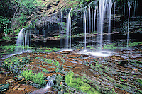 Cayuga Falls in Rickett's Glen State Park flows over a ledge in the Glens Natural Area, Luzern County, Pennsylvania