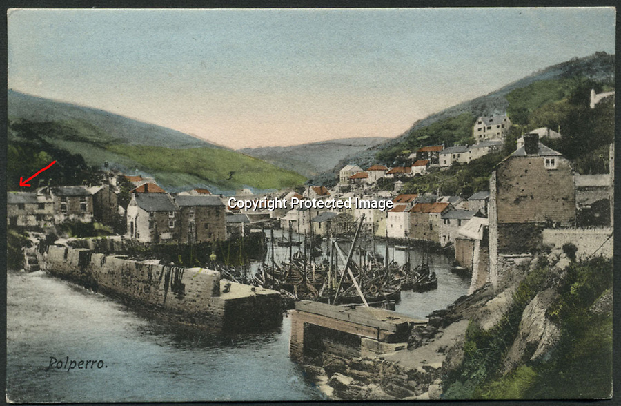 BNPS.co.uk (01202 558833)Pic: FACProperties/BNPS<br /> <br /> Old postcard of Polperro with Willy Wilcox Cottage.<br /> <br /> It is the ultimate picture-postcard property.<br /> <br /> A quaint seaside cottage that has featured on postcards for a Cornish fishing village has gone on the market for £750,000.<br /> <br /> Willy Wilcox Cottage, named after an 18th century smuggler who once owned it, sits in the cliffside of Polperro's harbour.<br /> <br /> It is raised above a sea cave which Willy used to hide his illegal wares. <br /> <br /> The four bed property is up for sale through estate agents Ocean and Country.