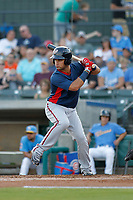 Potomac Nationals second baseman Bryan Mejia (2) at bat during a game against the Myrtle Beach Pelicans at Ticketreturn.com Field at Pelicans Ballpark on July 19, 2018 in Myrtle Beach, South Carolina. Potomac defeated Myrtle Beach 6-3. (Robert Gurganus/Four Seam Images)