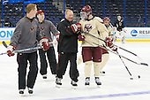 Greg Brown (BC - Assistant Coach), Mike Cavanaugh (BC - Associate Head Coach), Jim Logue (BC - Assistant Coach), Pat Mullane (BC - 11), Mark Begert (BC - 5) - The Boston College Eagles practiced on Friday, April 6, 2012, during the 2012 Frozen Four at the Tampa Bay Times Forum in Tampa, Florida.