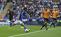 Leicester City's Youri Tielemans sees his shot blocked <br /> <br /> Photographer Stephen White/CameraSport<br /> <br /> The Premier League - Leicester City v Wolverhampton Wanderers - Sunday 11th August 2019 - King Power Stadium - Leicester<br /> <br /> World Copyright © 2019 CameraSport. All rights reserved. 43 Linden Ave. Countesthorpe. Leicester. England. LE8 5PG - Tel: +44 (0) 116 277 4147 - admin@camerasport.com - www.camerasport.com