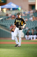 Salt Lake Bees starting pitcher Alex Blackford (11) during the game against the Reno Aces in Pacific Coast League action at Smith's Ballpark on June 15, 2017 in Salt Lake City, Utah. The Aces defeated the Bees 13-5. (Stephen Smith/Four Seam Images)