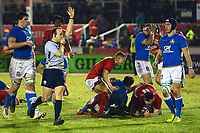 Wales U20's Tommy Rogers scores a try<br /> <br /> Photographer Richard Martin-Roberts/CameraSport<br /> <br /> Six Nations U20 Championship Round 4 - Wales U20s v Italy U20s - Friday 9th March 2018 - Parc Eirias, Colwyn Bay, North Wales<br /> <br /> World Copyright &not;&copy; 2018 CameraSport. All rights reserved. 43 Linden Ave. Countesthorpe. Leicester. England. LE8 5PG - Tel: +44 (0) 116 277 4147 - admin@camerasport.com - www.camerasport.com