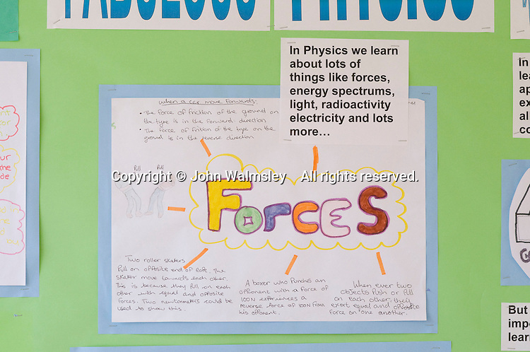 Artwork about forces in the Physics Department, State Secondary Roman Catholic school.