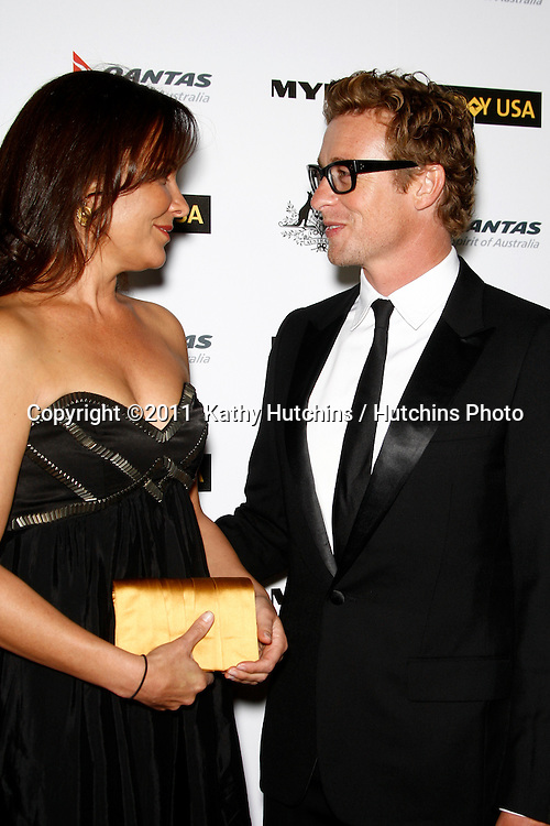 LOS ANGELES - JAN 22:  Simon Baker and wife Rebecca Rigg arrives at the 2011 G'Day USA Australia Week LA Black Tie Gala at Hollywood Palladium on January 22, 2011 in Los Angeles, CA